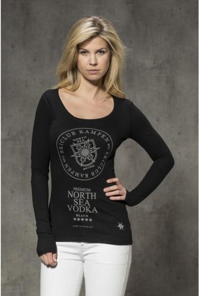 Langarm-shirt mit Frontprint Vodka schwarz