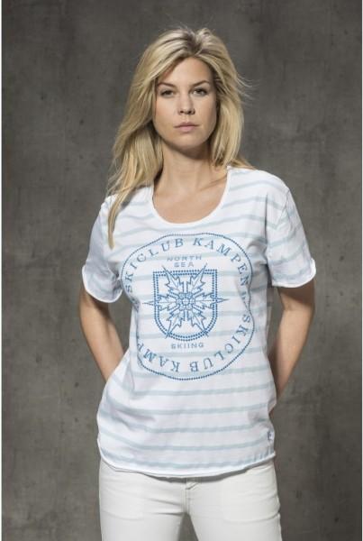 T-Shirt weiss-hellblau Streifen und Strass