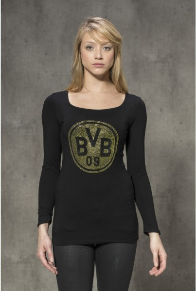 BVB Viskose-Langarm-Shirt Strass schwarz gelb