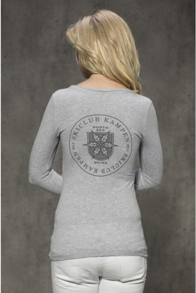 Langarm-shirt mit Backprint grau