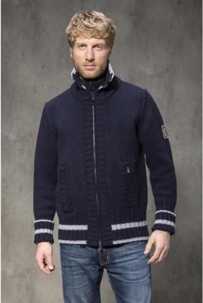 Doppelzip Jacke blau mit hellgrauen Streifen