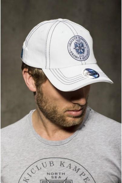 Cap weiss mit Logo und Ziernähten