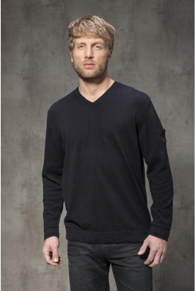 V-Neck-Pullover Baumwolle schwarz