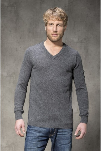 Cashmere Pullover klass. V-NECK anthrazit