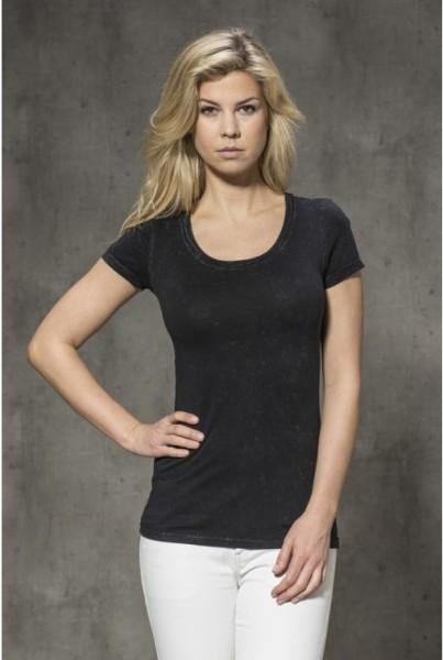 Kurzarm-T-Shirt uni schwarz