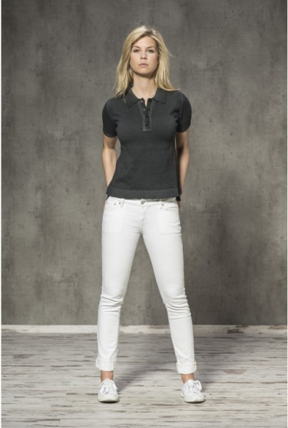 Damen-Polo-Shirt anthrazit Armlogo