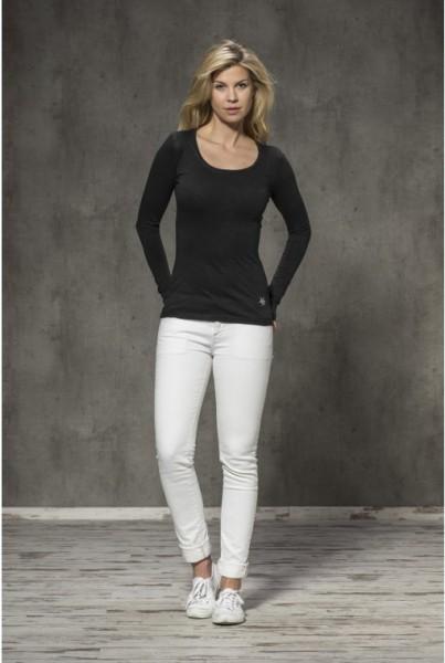 Unifarbenes Langarm-Shirt schwarz