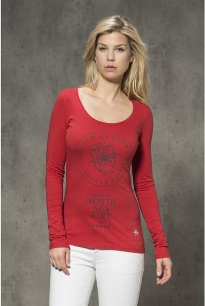Langarm-shirt mit Frontprint Fire rot