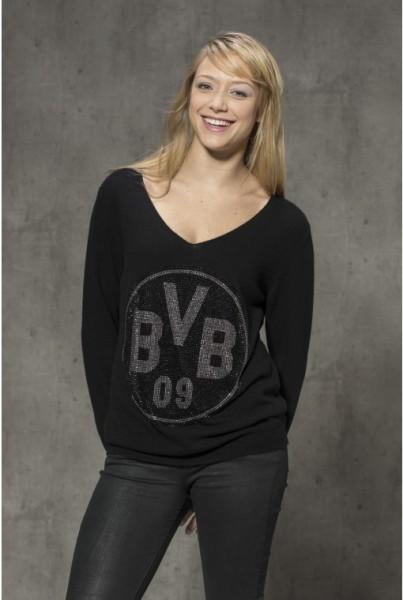 Cashmere-Pullover BVB schwarzer silber Strass