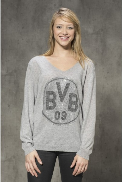 Cashmere-Pullover BVB grau silber Strass
