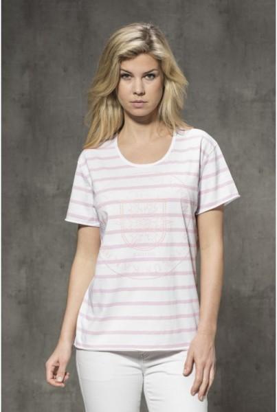 T-Shirt weiss-rosa Streifen und Strass