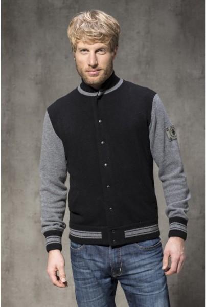 Cashmere College-Jacke schwarz mit grauen Streifen